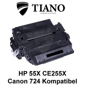 HP 55X CE255X / CANON CRG-724H sort printerpatron (kompatibel)