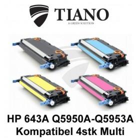 HP 643A Q5950A - Q5953A Multipakke BK+C+M+Y 4 stk (KOMPATIBEL)