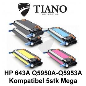 HP 643A Q5950A - Q5953A Megapakke 2xBK+C+M+Y 5 stk (KOMPATIBEL)