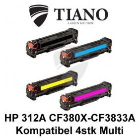 HP 312A CF380X - CF383A Multipakke BK+C+M+Y 4 stk (KOMPATIBEL)