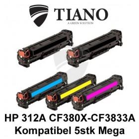 HP 312A CF380X - CF383A Megapakke 2xBK+C+M+Y 5 stk (KOMPATIBEL)