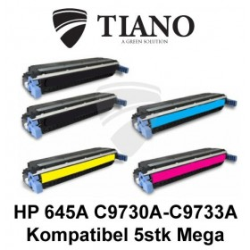 HP 645A C9730A - C9733A Megapakke 2xBK+C+M+Y 5 stk (KOMPATIBEL)