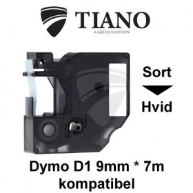 Dymo D1 standardtape 12 mm*7m Sort på Hvid label kompatibel