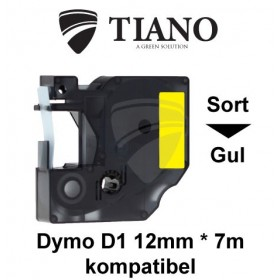 Dymo D1 standardtape 12mm*7m Sort på Gul label kompatibel