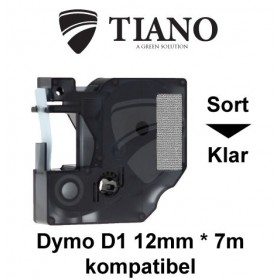 Dymo D1 standardtape 12mm*7m Sort på Klar label kompatibel