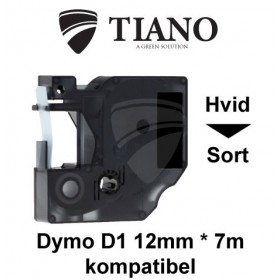 Dymo D1 standardtape 12mm*7m Hvid på Sort label kompatibel