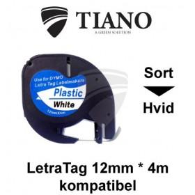 Dymo LetraTAG plasttape Sort på Hvid 12mm*4m kompatibel