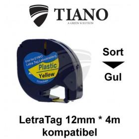 Dymo LetraTAG plasttape Sort på Gul 12mm*4m kompatibel