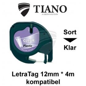 Dymo LetraTAG plasttape Sort på Klar 12mm*4m kompatibel