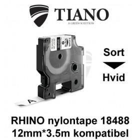Dymo RHINO fleksibel nylontape18488 Sort på Hvid etiket kompatibel