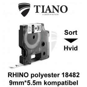 Dymo RHINO Permanent polyester 18482 Sort på Hvid etiket kompatibel