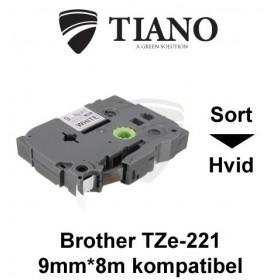 Brother TZe-221 sort tekst på hvid lamineret tape 9 mm*8 m kompatibel