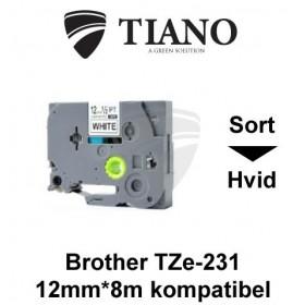 Brother TZe-231 sort tekst på hvid lamineret tape 12 mm*8 m kompatibel