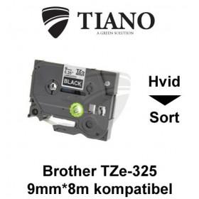 Brother TZe-325 hvid tekst på sort lamineret tape 9 mm*8 m kompatibel