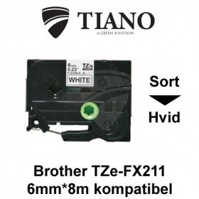 Brother TZe-FX211 sort tekst på hvid fleksibel id-lamineret tape 6 mm*8 m kompatibel
