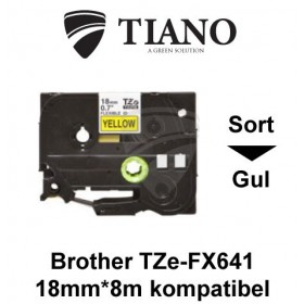 Brother TZe-FX641 sort på gul fleksibel id-lamineret tape 18mm*8m kompatibel