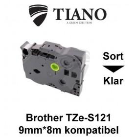 Brother TZe-S121 sort på klar stærkt klæbende lamineret tape 9mm*8m kompatibel