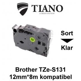 Brother TZe-S131 sort på klar stærkt klæbende lamineret tape 12mm*8m kompatibel