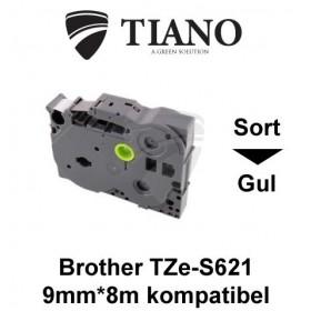Brother TZe-S621 sort på gul stærkt klæbende lamineret tape 9mm*8m kompatibel