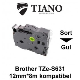 Brother TZe-S631 sort på gul stærkt klæbende lamineret tape 12mm*8m kompatibel