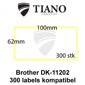Brother DK-11202 Fragtlabels 62 x 100 mm 300 stk kompatibel