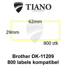 Brother DK-11209 Små adresselabels 29 x 62 mm 800 stk kompatibel