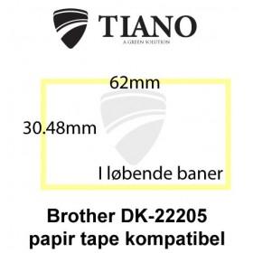 Brother DK-22205 Holdbar hvid papirtape 62 x 30.48 mm kompatibel
