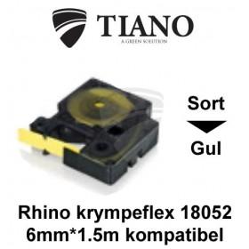 Dymo RHINO krympeflex 18052 Sort på Gul etiket kompatibel