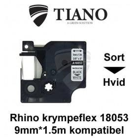 Dymo RHINO krympeflex 18053 Sort på Hvid etiket kompatibel