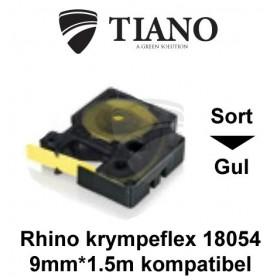 Dymo RHINO krympeflex 18054 Sort på Gul etiket kompatibel