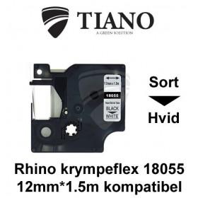 Dymo RHINO krympeflex 18055 Sort på Hvid etiket kompatibel