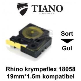 Dymo RHINO krympeflex 18058 Sort på Gul etiket kompatibel