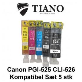 Canon 525-526 multipakke med 5 stk kompatibel blæk