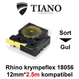 Dymo RHINO krympeflex 18056 Sort på Gul etiket kompatibel