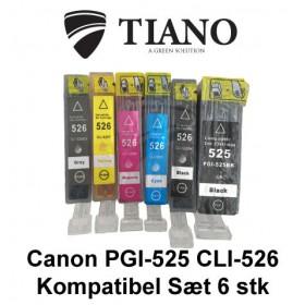 Canon 525-526 megapakke med 6 stk kompatibel blæk
