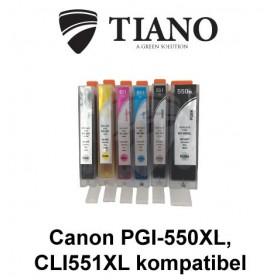 Canon 550XL-551XL megapakke med 6 stk kompatibel blæk