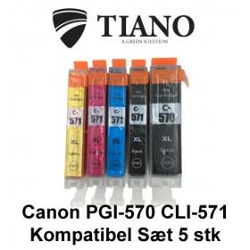 Canon 570XL-571XL multipakke med 5 stk kompatibel blæk