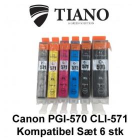 Canon 570XL-571XL megapakke med 6 stk kompatibel blæk