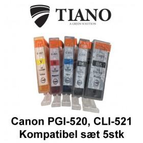 Canon 520-521 multipakke med 5 stk kompatibel blæk